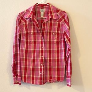 """Red plaid """"Lucky"""" snap down shirt"""